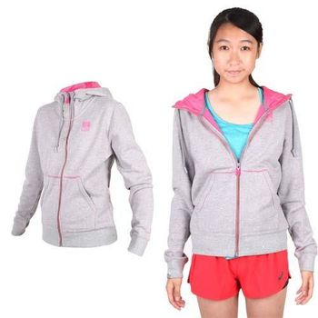 【NEWBALANCE】女連帽外套- 運動外套 休閒外套 NB 淺灰粉紅  兩側口袋