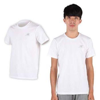 【NEWBALANCE】NEW BALANCE男短袖T恤- 路跑 慢跑 健身 NB 白銀  100%棉