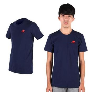 【NEWBALANCE】NEW BALANCE男短袖T恤- 路跑 慢跑 健身 NB 丈青紅  100%棉