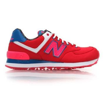 【NEWBALANCE】574 系列 女復古休閒鞋- 走路鞋 NB N字鞋 紅藍螢光粉