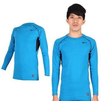 【NIKE】PRO COMBO男長袖緊身衣-保暖 健身 緊身T恤 湖水藍黑  拼接設計,利於伸展