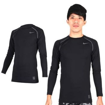 【NIKE】PRO COMBO男長袖緊身衣-保暖 健身 緊身T恤 黑灰  拼接設計,利於伸展