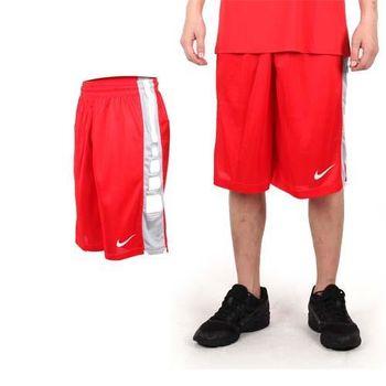 【NIKE】男運動短褲-針織 籃球短褲 慢跑 路跑 紅白  100%聚酯纖維