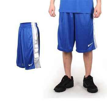 【NIKE】男運動短褲-針織 籃球短褲 慢跑 路跑 寶藍白  100%聚酯纖維