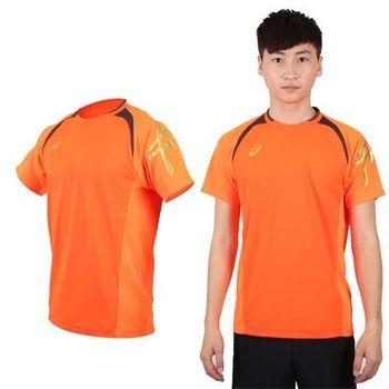 【ASICS】男短袖T恤-短T 圓領 慢跑 路跑 亞瑟士 亮橘黑  腋下與背部拼接透氣材質布料
