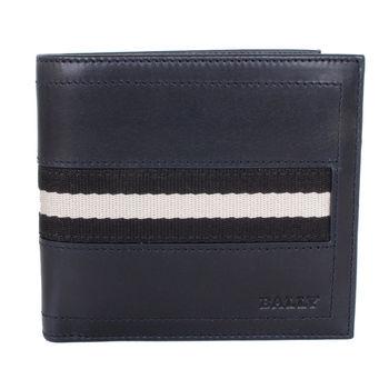 BALLY 黑白帆布織帶皮革雙折短夾(深藍)