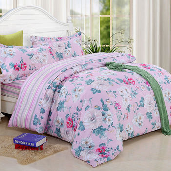 《HOYACASA》雙人四件式純棉兩用被床包組(天絲入棉30%)-多款選