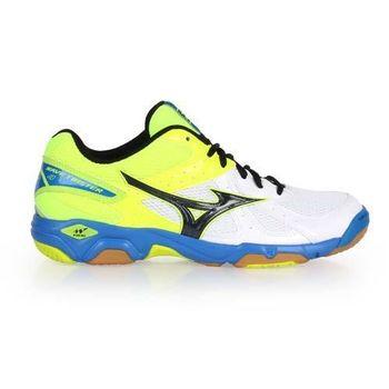 【MIZUNO】WAVE TWISTER 4 男女排球鞋-羽球鞋 羽毛球 美津濃 螢光綠白