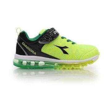 【DIADORA】男女中童氣墊慢跑鞋-路跑 寬楦 運動鞋 休閒鞋 童鞋 螢光綠黑