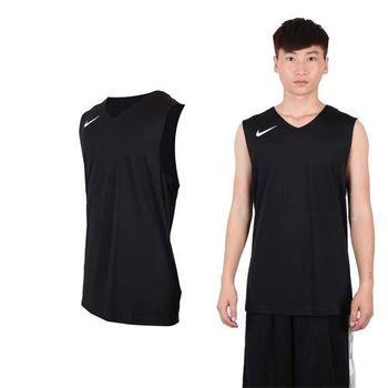 【NIKE】男運動背心-針織 籃球背心 慢跑 路跑 黑白  100%聚酯纖維