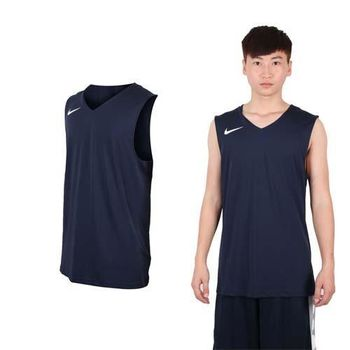 【NIKE】男運動背心-針織 籃球背心 慢跑 路跑 丈青白  100%聚酯纖維