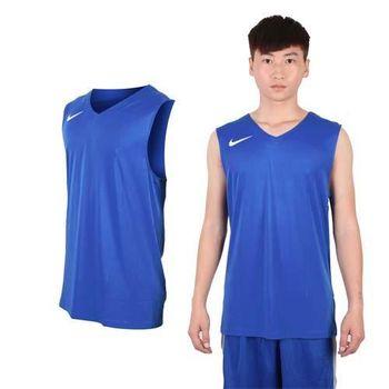 【NIKE】男運動背心-針織 籃球背心 慢跑 路跑 寶藍白  100%聚酯纖維