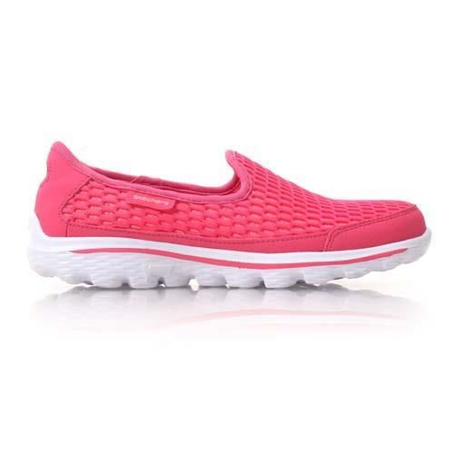 【SKECHERS】GO WALK 2-SUPER BREATHE 女大童鞋 桃紅白