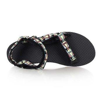 【TEVA】女織帶涼鞋- 休閒鞋 黑黃綠