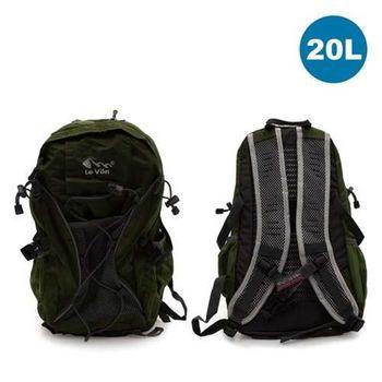 【LeVon】20L休閒透氣背包- 雙肩包 後背包 軍綠