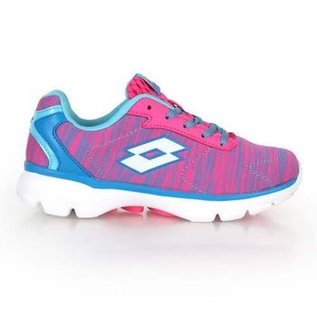 【LOTTO】女飛織輕量跑鞋-路跑 慢跑 水藍桃紅