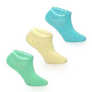 【MIZUNO】女運動薄底踝襪-3雙入-美津濃 慢跑 路跑 襪子 淺藍黃