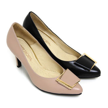 【GREEN PHOENIX】典雅品味梯形金屬飾扣全真皮尖頭高跟鞋-粉紅色、黑色