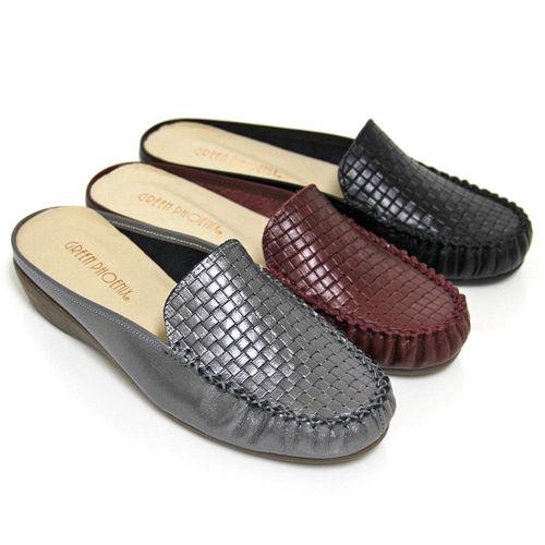 【GREEN PHOENIX】復刻皮革編織壓紋全真皮小坡跟前包後空拖鞋-深紅色、灰藍色、黑色