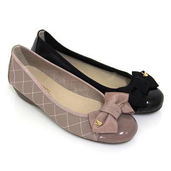 【GREEN PHOENIX】緞面蝴蝶結金屬裝飾菱格紋全真皮小坡跟娃娃鞋-芋色、黑色