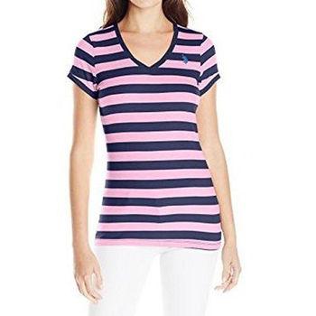 【US Polo】2016女典雅小馬蕾絲V型寶藍粉條紋短袖T恤(預購)