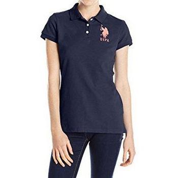 【US Polo】2016女魅力左胸大馬標誌寶藍色短袖Polo(預購)