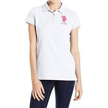 【US Polo】2016女魅力左胸大馬標誌光白色短袖Polo(預購)
