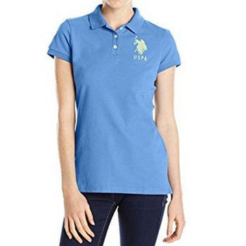 【US Polo】2016女魅力左胸大馬標誌光海洋藍色短袖Polo(預購)