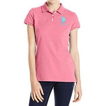 【US Polo】2016女魅力左胸大馬標誌粉紅色短袖Polo(預購)