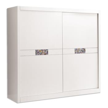 Bernice-羅克莎7尺白色推門/拉門衣櫃