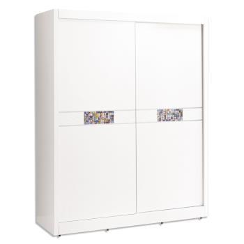 Bernice-羅克莎5尺白色推門/拉門衣櫃