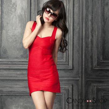 Candy小舖 小V領繃帶針織洋裝 -紅色