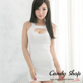 Candy小舖 新品特色款 合身窄版削肩美胸背心式洋裝 (白色/杏色/黑色)