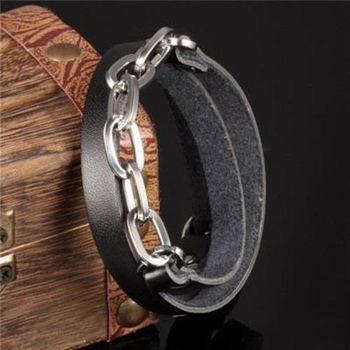 【米蘭精品】皮革手環鈦鋼手鍊流行復古皮帶造女飾品73cq203