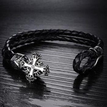 【米蘭精品】真皮手環鈦鋼手鍊創意酷炫十字架設計男款73cq225