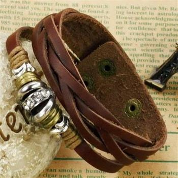 【米蘭精品】真皮手環鈦鋼手鍊潮流復古編織造飾品73cq240