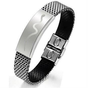 【米蘭精品】皮革手環鈦鋼手鍊創意波浪刻紋造飾品73cq244