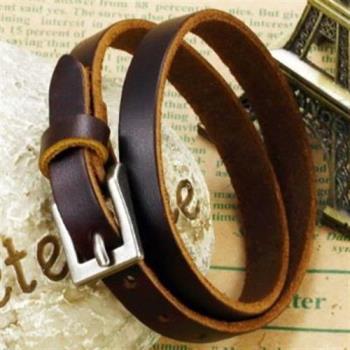 【米蘭精品】真皮手環鈦鋼手鍊簡約素面多圈設計男款73cq65