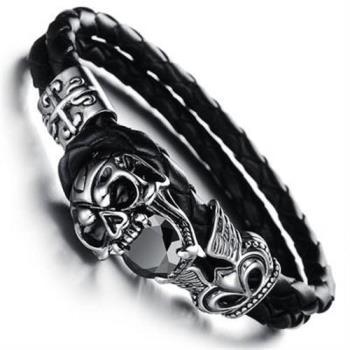 【米蘭精品】真皮手環鈦鋼手鍊搖滾創意惡魔骷髏男款73cq72