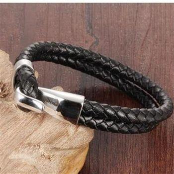 【米蘭精品】皮革手環鈦鋼手鍊韓版雙層編織皮繩男款73cq78