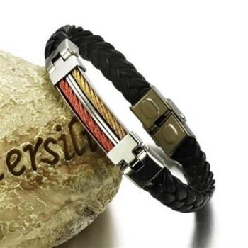【米蘭精品】皮革手環鈦鋼手鍊雙色拼接方形造飾品73cq89