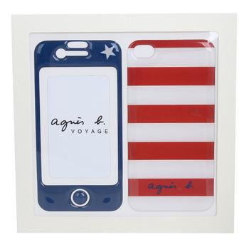 agnes b. 小b  IPHONE 4/4S  PVC手機貼 藍正面/紅白條紋背面