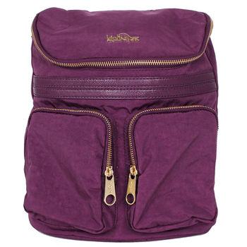 agnes b. 金logo後背包紫