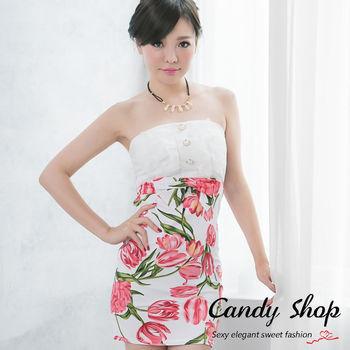 Candy 小鋪 新品上市 印花拼接蕾絲包臀合身顯瘦洋裝(黑色/白色)-0097831