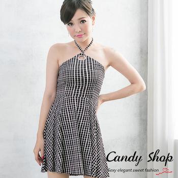 Candy 小鋪    新品上市露背削肩款格紋連身洋裝-0097830