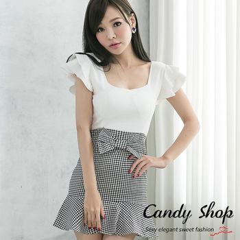 CANDY 小鋪 優雅初秋輕甜格紋魚尾裙擺包臀連身洋裝(黑色/紅色)-0097828
