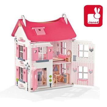 法國Janod創意兒童智玩-Dolls House-粉夢幻娃娃屋