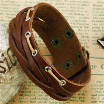 【米蘭精品】真皮手環鈦鋼手鍊個性多層編織造飾品73cq128