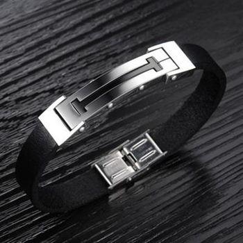 【米蘭精品】真皮手環鈦鋼手鍊經典商務長方造飾品73cq133
