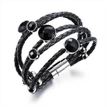 【米蘭精品】真皮手環鈦鋼手鍊皮繩編織鑲鑽設計男女飾品2色73cq189